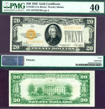 1928 - $20 FR-2402 US small size gold Certificate PMG 40