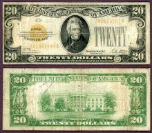 1928 - $20 FR-2402 US small size gold Certificate