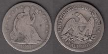 1858 50c US Seated Liberty silver half dollar