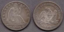 1854-O 50c US seated liberty silver half dollar with arrows at date