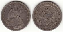 1853 50c Arrows & Rays US seated Liberty half dollar