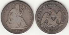 1859-O 50c US seated liberty silver half dollar