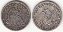 1862-S 50c US seated liberty silver half dollar