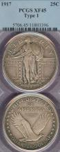 1917 25c Variety 1 US standing liberty silver quarter PCGS Extremely Fine 45