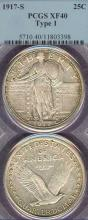 1917-S 25c Variety 1 US standing liberty silver quarter PCGS Extremely Fine 40