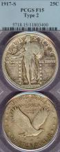 1917-S 25c Variety 2 US standing liberty silver quarter PCGS Fine 15