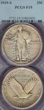 1919-S 25c US standing liberty silver quarter PCGS Fine 15