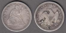 1843-O 25c US seated liberty silver quarter
