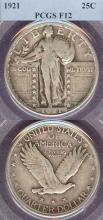 1921 25c US standing liberty silver quarter PCGS F-12