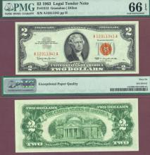 1963 $2 FR-1513 US small size legal tender note PMG GEM Uncirculated 66EPQ