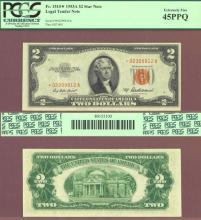"1953-A $2 FR-1510* ""STAR"" US small size red seal legal tender star note PCGS 45PPQ"