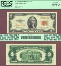 "1953-B $2 ""STAR"" FR-1511* US small size legal tender red seal star note PCGS 66PPQ"
