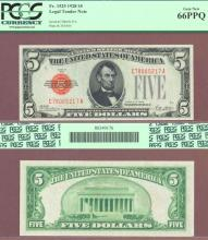 1928 $5 FR-1525 D-A Block US small size legal tender red seal PCGS Fine 15