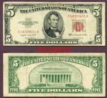 1953-B $5 FR-1534 US small size legal tender note