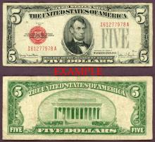 1928-F $5 FR-1531 US small size legal tender note red seal