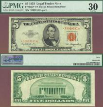 "1953 $5 FR-1532* ""STAR"" US small size legal tender red seal star note"