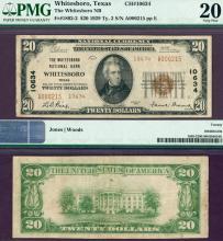 Texas Whitesboro 1929 $20.00 Type 2 FR-1802-2 Charter 10634 PMG Very Fine 20