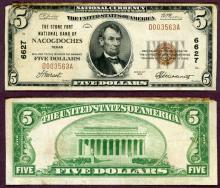 Texas Nacogdoches 1929 $5.00 Type 1 FR-1800-1 Charter 6627 US small size national bank note