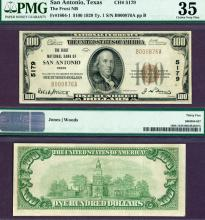 Texas San Antonio 1929 $100.00 Type 1 FR-1804-1 Charter 5179 US small size national bank note PMG 35