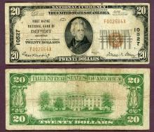 Michigan Detroit 1929 $20.00 Type 1 FR-1802-1 Charter 10527