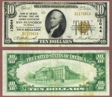 1929 $10.00 Type 1 FR-1801-1 Charter 13044 San Francisco California