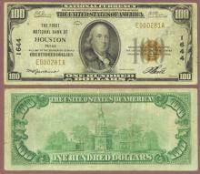 1929 $100.00 Type 1 FR-1804-1 Charter 1644 Houston Texas