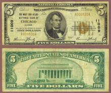 1929 $5.00 Type 1 FR-1800-1 Charter 11009 Chicago Illinois
