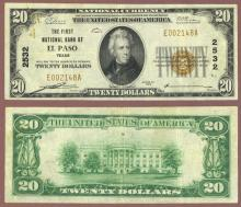 1929 $20.00 Type 1 FR-1802-1 Charter 2532 El Paso Texas