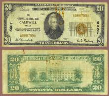 1929 $20.00 Type 1 FR-1802-1 Charter 6607 Caldwell Texas