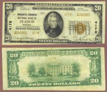 1929 $20.00 Type 2 FR-1802-2 Charter 4178 St.Louis Missouri