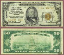 1929 $50.00 Type 1 FR-1803-2 Charter 13044 San Francisco California