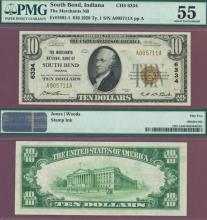 Indiana 1929 $10.00 Type 1 FR-1801-1 Charter 6334 US small national bank note brown seal PMG About Uncirculated 55