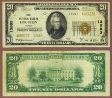 Texas 1929 $20.00 Type 2 FR-1802-2 Charter 13683 US small size national bank note brown seal