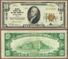 Texas 1929 $10.00 Type 1 FR-1801-1 Charter 12186 US small size national bank note brown seal