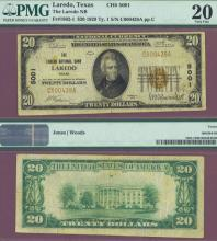 Texas 1929 $20.00 Type 1 FR-1802-1 Charter 5001 US small size national bank note PMG Very Fine 20
