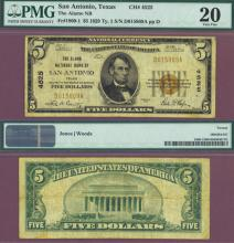 Texas 1929 $5.00 Type 1 FR-1800-1 Charter 4525 US small size national bank note