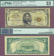Missouri 1929 $5.00 Type 1 FR-1800-1 Charter 8276 US small size national bank note