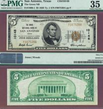 Texas 1929 $5.00 Type 1 FR-1800-1 Charter 10148 US small size national bank note