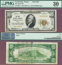 Texas 1929 $10.00 Type 1 FR-1801-1 Charter 11022 US small size national bank note brown seal