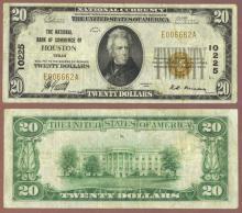 Texas 1929 $20.00 Type 1 FR-1802-1 Charter 10255