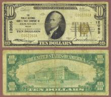 Texas 1929 $10.00 Type 1 FR-1801-1 Charter 12055 US small size national bank note
