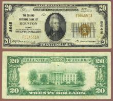 Texas 1929 $20.00 Type 1 FR-1802-1 Charter 8645 US small size national bank note
