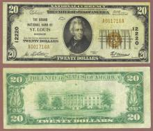 Missouri 1929 $20.00 Type 1 FR-1802-1 Charter 12220 US small size national bank note