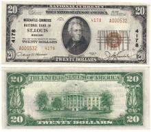 Missouri 1929 $20.00 Type 2 FR-1802-2 Charter 4178 US small size national bank note