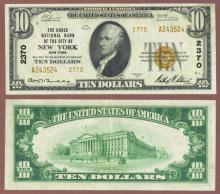 New York 1929 $10.00 Type 2 FR-1801-2 Charter 2370 US small size national bank note