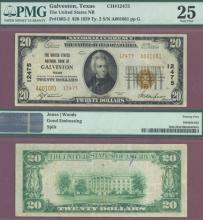 Texas 1929 $20.00 Type 2 FR-1802-2 Charter 12475 US small size national bank note PMG Very Fine 25