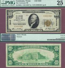 Texas 1929 $10.00 Type 1 FR-1801-1 Charter 3645US small size national bank note PMG Very Fine 25