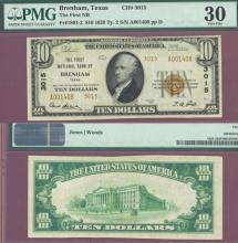 Texas 1929 $10.00 Type 2 FR-1801-2 Charter 3015 US small size national bank note