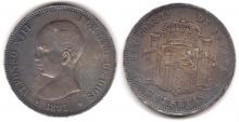 1891 5 Peseta Spain silver 5 Peseta
