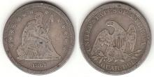 1861 25c US seated liberty silver quarter